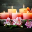 Beautiful candles with flowers — Stock Photo #49096297
