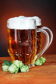 Glasses of beer and hops — Stock Photo