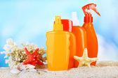 Bottles with suntan cream — Stockfoto
