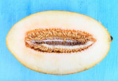 Ripe melons on wooden table close-up — Stock Photo