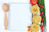 Groceries with empty cookbook — Stockfoto