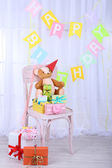 Many birthday gifts in room — Стоковое фото