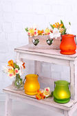 Bright icon-lamps with flowers — Stock Photo