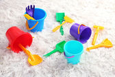 Colorful plastic toys in children room — Stock Photo