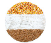 Cereals on round wooden board — Stock Photo