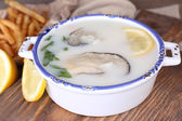 Tasty soup with oysters — Stockfoto