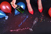 Legs with balloons and confetti — Foto de Stock