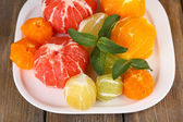 Citrus fruits without skin — Stock Photo