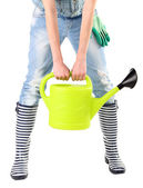 Woman holding watering can — Stock Photo