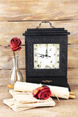 Still life with old clock — Stock Photo