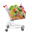 Full shopping trolley, isolated on white — Stock Photo #49118929