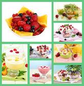 Fruit dessert collage — Stock Photo