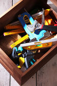 Wooden box with tools — Stockfoto