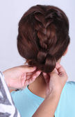 Creating hairstyles — Stock Photo