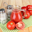 Tomato juice in glass jug — Stock Photo #49144823