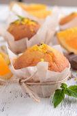 Cupcakes with orange — Stock Photo