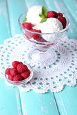 Ice cream with raspberries — Stock Photo