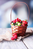 Berries in wicker basket — ストック写真