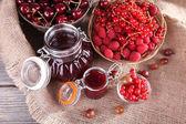 Jam in glass jar — Stock Photo