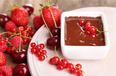 Berries and liquid chocolate — Stock Photo
