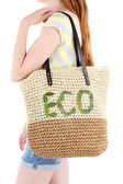 Woman with summer wicker Eco bag — Stock Photo