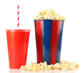 Popcorn and fast food drink — Stock Photo