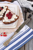 Bread with cottage cheese and berries — Stock Photo