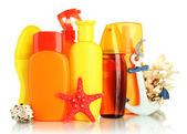 Bottles with suntan cream — Stock Photo
