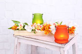 Bright icon-lamps with flower — Stock Photo
