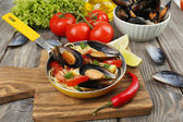 Noodles with mussels — Foto Stock