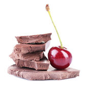 Cherry and chopped chocolate — Stok fotoğraf