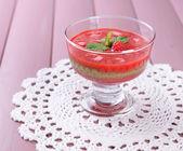 Strawberry, kiwi fruit and raspberry smoothies — Stock Photo