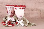 Raspberry dessert with berries — Stock Photo
