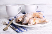 Tasty bagels with powdered sugar — Stock Photo