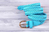 Blue leather belt — Stock Photo