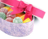Jelly candies in present box — Stockfoto