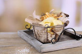 Potato chips and french fries in baskets — Stock Photo