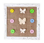Wooden frame with paper butterflies — Stockfoto