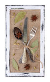 Wooden frame and vintage cutlery and spices — Stock Photo