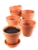 Clay flower pots and soil — Foto Stock