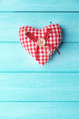Fabric heart and safety pins — Stok fotoğraf