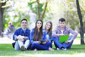 Happy students sitting in park — Stock Photo