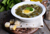 Delicious green soup with sorrel — Stock Photo