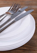 Set of white dishes — Stock Photo
