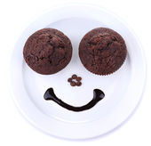 Two tasty muffins on plate — ストック写真