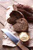 Fresh bread and homemade butter — Stock Photo