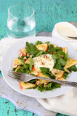 Green salad with apples, walnuts and cheese — Stock Photo