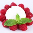 Creamy ice cream with raspberries and mint leaves isolated on white — Stockfoto #49206487