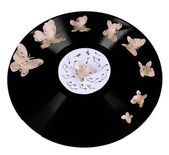 Old vinyl record with paper butterflies, isolated on white — Stock Photo