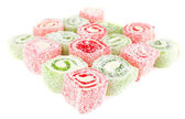 Tasty Turkish delight isolated on white — Stock Photo